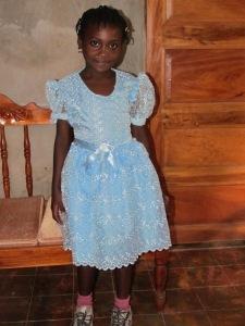 Roseberline in her new dress- a gift from her sponsor!
